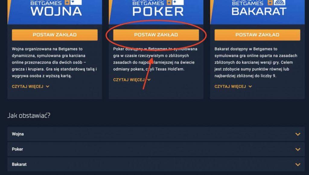 Jak grać w pokera w STS? Krok 2