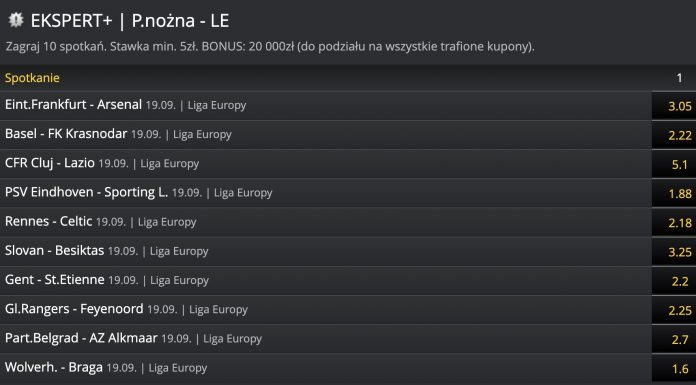 Ekspert od Ligi Europy dostaje 20000 PLN w Fortunie!